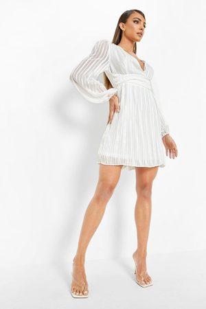 Boohoo Dame Hverdagskjoler - Pleated Wrap Waist Skater Dress