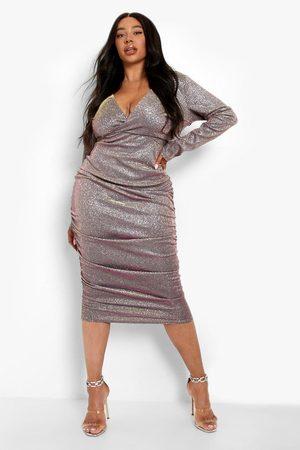Boohoo Dame Hverdagskjoler - Plus Woven Glitter Shimmer Wrap Ruched Midi Dress