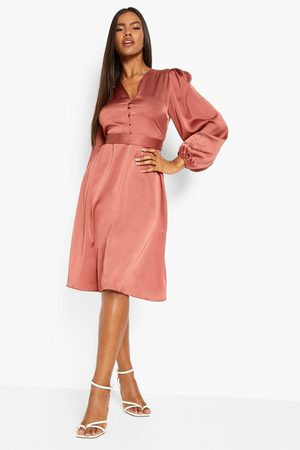 Boohoo Satin Puff Sleeve Button Detail Midi Dress