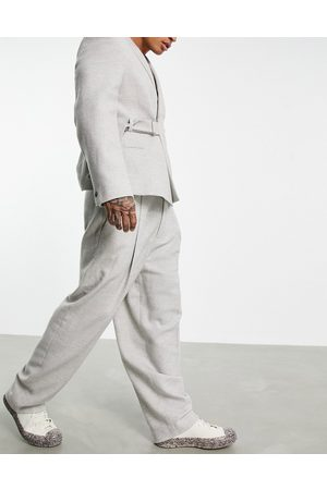 ASOS Herre Chinos - High waisted balloon wool mix twill suit trousers in ice grey