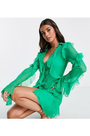 ASOS Dame Selskapskjoler - ASOS DESIGN Tall bias cut ruffle shirt mini dress-Green