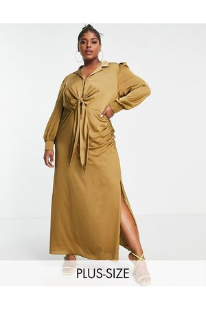 Forever New Tie front ruched shirt midi dress in olive-Green
