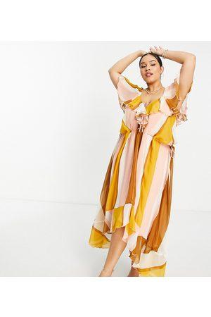 ASOS Dame Mønstrede kjoler - ASOS DESIGN Curve ruffle midi dress with lace up front detail in stripe print-Multi