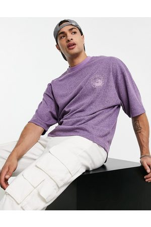 ASOS Oversized t-shirt in brushed lilac texture with chest embroidery-Purple
