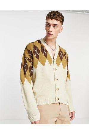 ASOS Knitted argyle cardigan in tan-Brown