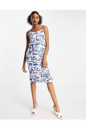 ASOS Dame Mønstrede kjoler - Ruched bodice drape midi dress in print-Multi