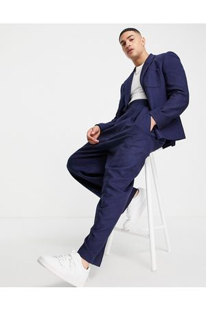 ASOS Herre Chinos - High waisted balloon wool mix twill suit trousers in navy