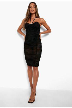 Boohoo Halterneck Mesh Ruched Midaxi Dress