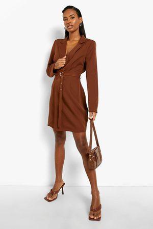 Boohoo Long Sleeve Belted Wrap Blazer Dress