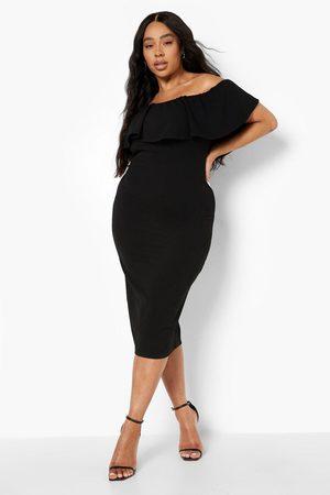 Boohoo Plus Off Shoulder Ruffle Midi Dress