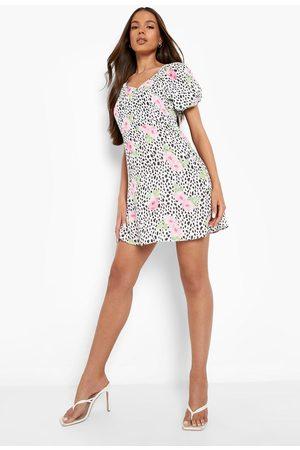 Boohoo Mixed Print Puff Sleeve Skater Dress