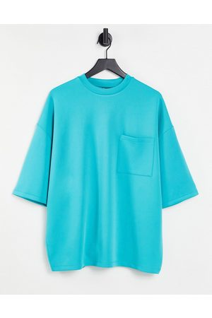 ASOS Oversized t-shirt in blue scuba with chest pocket