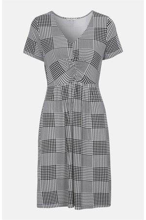 Cellbes Jersey-kjole svart-hvitt mønstret med kort arm