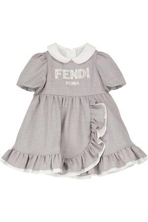 Fendi Barn Kjoler - Baby logo-embroidered wool dress
