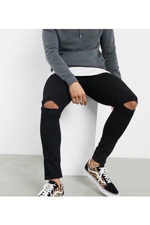 ASOS Herre Skinny - Spray on jeans in power stretch denim with knee rips in black