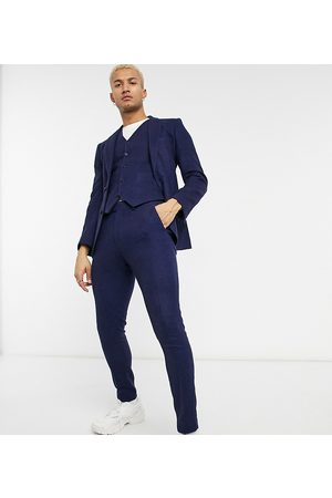 ASOS Wedding super skinny wool mix suit trouser in navy twill