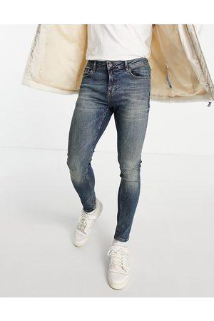 Topman Herre Skinny - Spray on jeans in dark wash tint-Blue