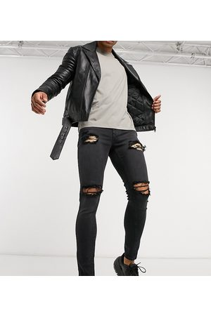 ASOS Herre Skinny - Spray on jeans with power stretch in washed black with mid rips