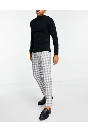 Topman Herre Chinos - Tapered checked trousers in black and white