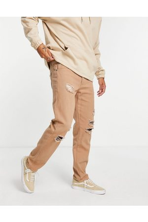Liquor N Poker Herre Straight - Co-ord straight leg jeans in brown denim with distressing