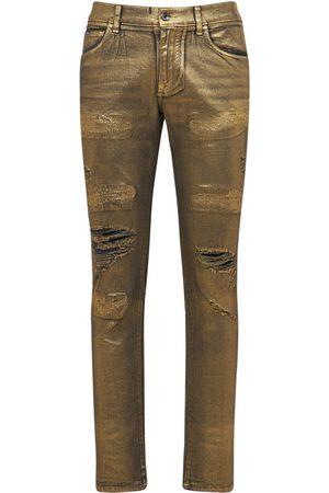 Dolce & Gabbana Laminated Skinny Cotton Denim Pants