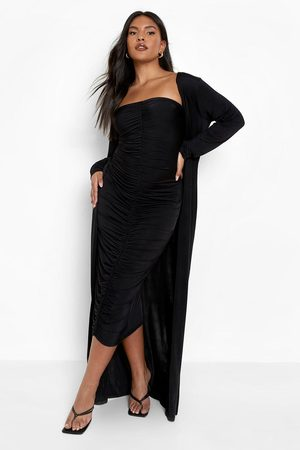 Boohoo Dame Maxikjoler - Plus Ruched Bandeau Dress And Maxi Duster
