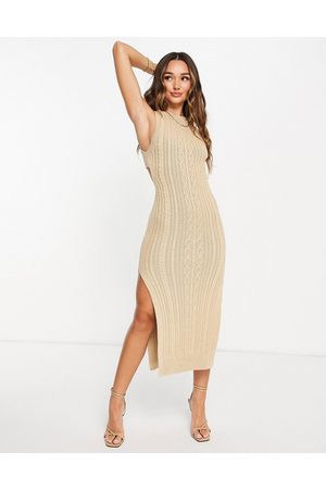 ASOS Dame Hverdagskjoler - Cable knit midi dress with open back and thigh split detail in taupe-Brown