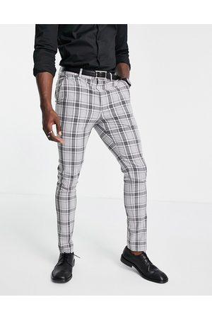 ASOS Herre Chinos - Skinny suit trousers with prince of wales check in grey