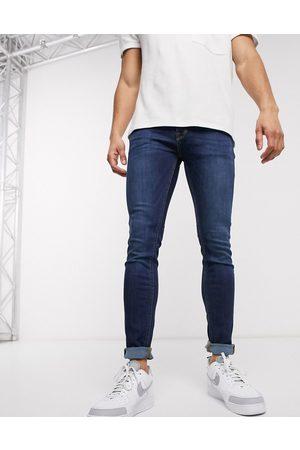 JACK & JONES Intelligence Liam skinny fit jeans in mid blue wash-Black