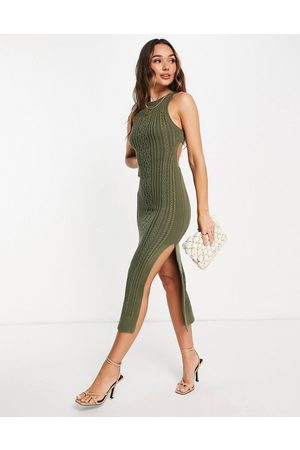 ASOS Cable knit midi dress with open back and thigh split detail in khaki-Green