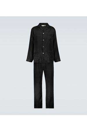 DEREK ROSE Woburn striped silk pajama set
