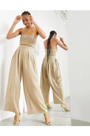 ASOS Pleat front wide leg trouser in taupe-Neutral
