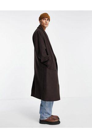 ASOS Oversized longline wool mix overcoat in brown