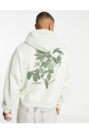 ASOS Oversized hoodie in light green with contrast rib panels and floral back graphic-Neutral