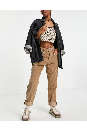 ASOS Dame High waist - Hourglass high rise 'slouchy' mom jeans in biscuit cord-Brown
