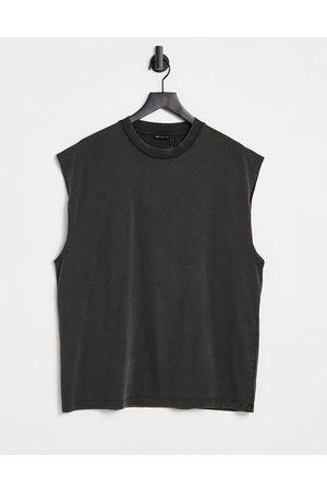 ASOS Oversized organic vest in black acid wash