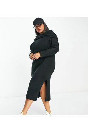 ASOS Dame Hverdagskjoler - ASOS DESIGN Curve knitted midi dress with off shoulder in black