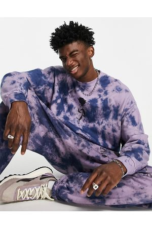 ASOS Co-ord oversized sweatshirt in purple tie dye with rose print-Green