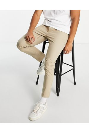 ASOS Herre Chinos - Skinny chinos with elasticated waist in stone-Neutral