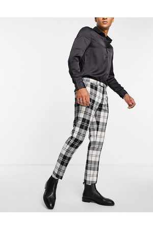 Twisted Tailor Smart trousers in black and white check with pocket chain detail