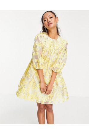 ASOS Metallic jacquard mini dress with puff sleeves in yellow-Multi