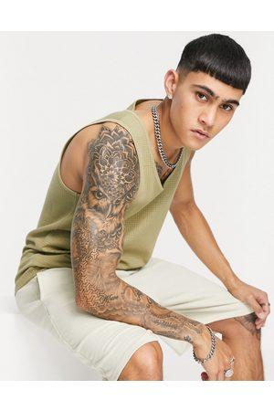 ASOS Lightweight waffle vest in khaki-Green