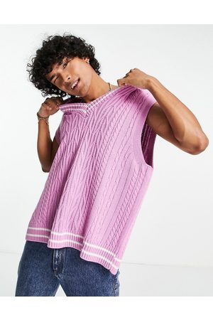 ASOS Cable knit cricket vest in pink