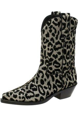 Dolce & Gabbana Shimmering Leopard Laurex Fabric Cowboy Boots