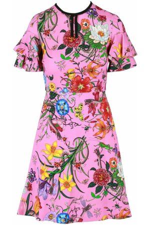 Gucci Ruffled Flora Snake Print Dress