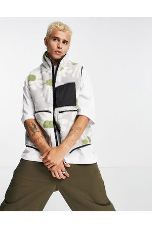 ASOS Borg gilet with pockets in grey floral print