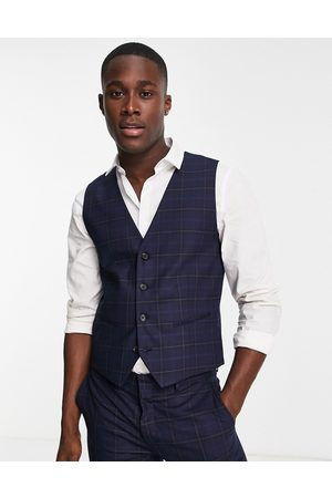 SELECTED Waistcoat in blue check