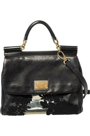 Dolce & Gabbana PVC Lace And Leather Large Miss Sicily Top Handle Bag