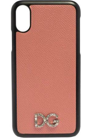 Dolce & Gabbana Dame Mobildeksler - IPhone X -deksel i skinn med krystallutsmykket logo