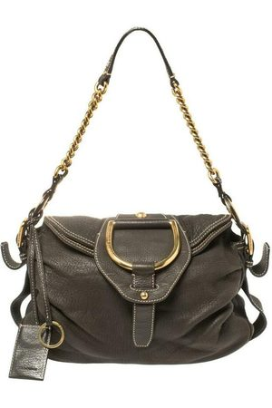 Dolce & Gabbana Pebbled Leather D Ring Flap Hobo